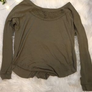 Tops - Olive Lace Long Sleeve Shirt